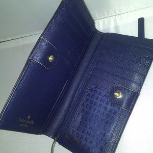 Blue Kate Spade New York Leather Clutch Wallet.